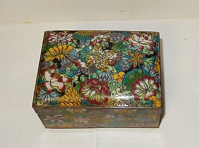 Large Chinese Cloisonne Enamel Millefleur Humidor Trunk Jar Footed Box
