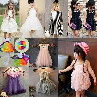 Flower Girl Summer Princess Dress Baby Kid Party Wedding Lace Tutu Tulle Dresses