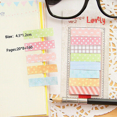 2x 160 Pages Cute Sticker Flags Bookmark Page Marker Memo Index Tab Sticky Q9C2