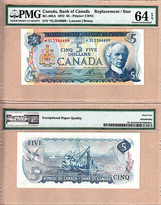1972 $5 BC-48bA *SL Replacement Bank of Canada Note; PMG Choice UNC64 EPQ
