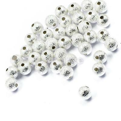 50pcs Silver Plated Brass Stardust Beads Spacer Round 6mm DIY Jewelry Making