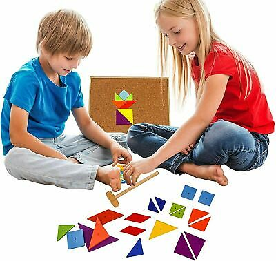 Hammer and Nails Game Tap Tap Art Set Pins Wooden Shape Creative Toy, 67 Pieces