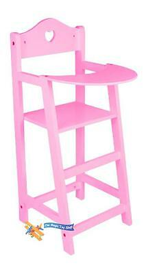Dolls Pink Wooden High Chair Hearts Shape Girls Toy Feeding Chair