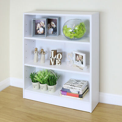 3 Tier Wooden White Home/Office Bookcase Storage Display Unit Shelving/Cabinet