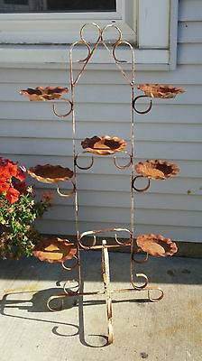 Shabby Rusty Chippy White Vintage Wrought Iron 7 Pot Plant Stand