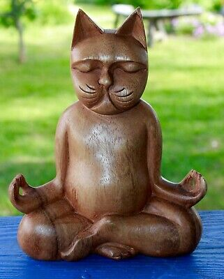 Meditating Yoga Buddha Cat Statue Lotus Pose Wood Carving Feline Balinese Art