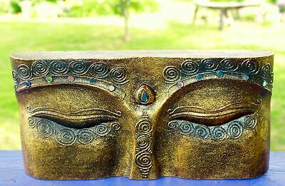 Wise Eyes of Buddha Wall Art Sculpture hand carved wood Gold Balinese art