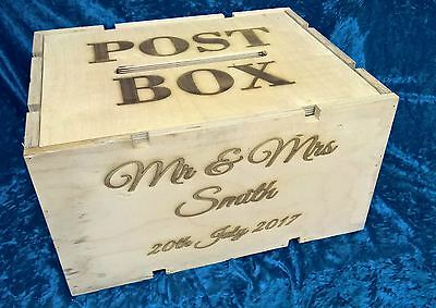 Personalised Wedding Post Box Engraved Rustic Wooden Cheese/fruit/Apple Crate