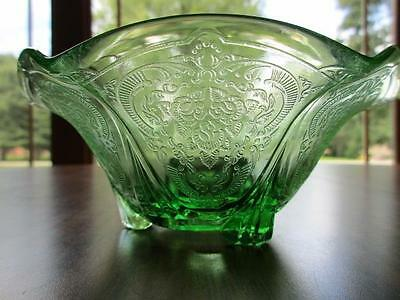 Royal Lace Pattern Uranium Green Ruffle Edge Candlestick VHTF!