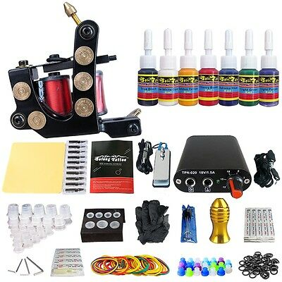 Solong Tattoo 1 Pro Machine Pistolet Tatouage Alimentation 7 encre Kit