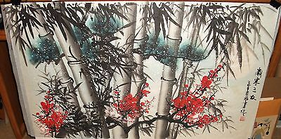 Japanese Bamboo Cherry Blossoms Huge Original Watercolor On Paper Painting