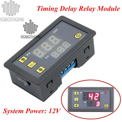 Timing Delay Relay Module Cycle Timer 12V Digital LED Dual Display 0-999 Hours
