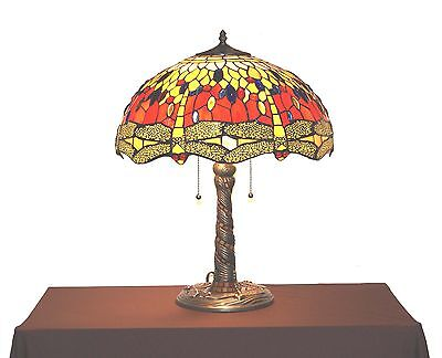 """18"""" Shade-Tiffany-style DRAGONFLY Red-Yellow Desk/Table Lamp / lamps / light"""