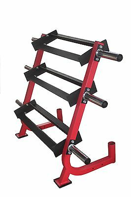 Dumbell Rack 3 Tiers Trays + 6 Weight Plate Storage Pins + 2 Olympic Bar Holders