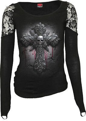 SPIRAL DIRECT CRUCIFIX  SHOULDER LACE TOP BLACK/Cross/Goth/Dark Wear/Steampunk