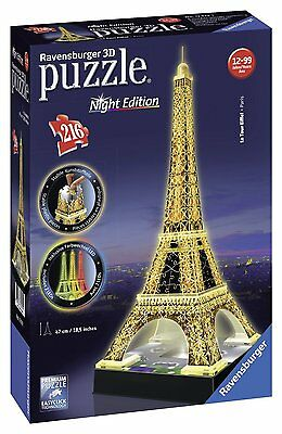 Ravensburger - Tour Eiffel, Night Special Edition, Puzzle 3D, 216 Pezzi
