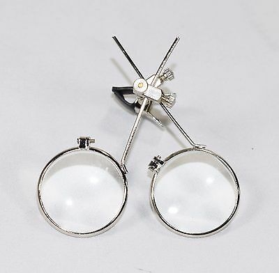 Jewelers Double Clip on Eye Loupe for Glasses 5x Magnifying Magnifier Steampunk