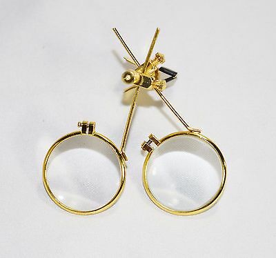 Gold Jewelers Double Clip on Eye Loupe for Glasses 5x 10x Magnifying Steampunk