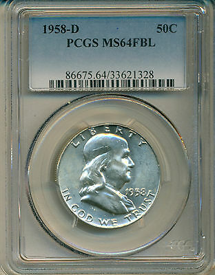 1958 D Franklin Half Dollar Pcgs Certified Ms-64 Fbl Deep Frosty White Coin