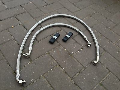 Mgb Stainless Steel Braided Oil Cooler Hoses With Securing Straps 1972-sept 76