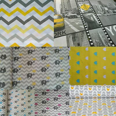"""LOVELY Grey&White 100% Cotton Fabric Material By The Metre over 63"""" Wide"""