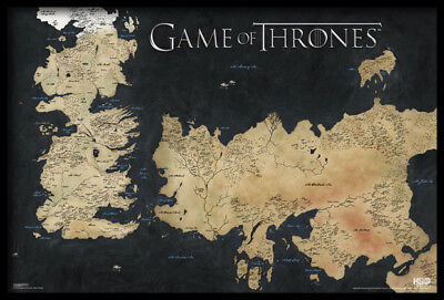 (Framed) Game Of Thrones Map Poster 66X96Cm Westeros Essos Art Print Picture