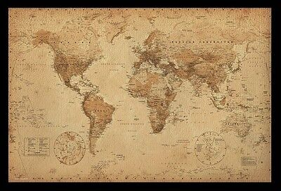 (Framed) World Map Vintage Poster Print Picture - Ready To Hang Art New