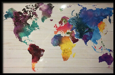 (Framed) Watercolour World Map Poster 66X96Cm Print Picture   Art
