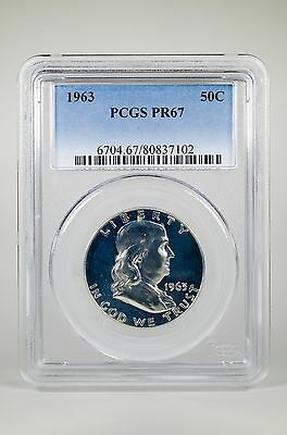 Pr67 1963 Pcgs Graded Franklin 90% Silver Half Dollar 50C Proof Coin Liberty Us
