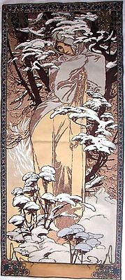 ">Alphonse Mucha ""winter"" 59"" X 25"" Fully Lined Belgian Tapestry Wall Hanging"