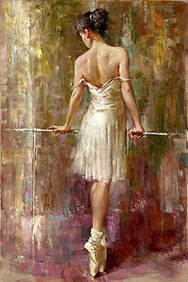 Oil Painting Female Portrait Beautiful Young Ballet Girl Purity Ballerina canvas