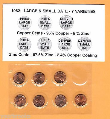 1982 P&d Lincoln Cent 7 Bu Coin Set Copper & Zinc - Large & Small Dates Holder