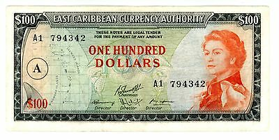 East Caribbean States ... P-16g ... 100 Dollars ... ND(1965) ... *VF+*