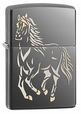 Zippo Windproof  Lighter With Laser Engraved Running Horse, 28645, New In Box