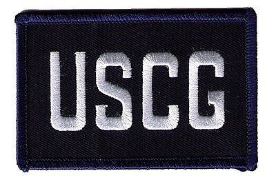 "Coast Guard USCG initials SID-H-CNK blue/white 3.5""x2.25"" rectangle patch"