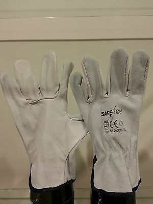 Pkt/12 Pairs - Saferite - SR202DC -  Drivers Cow Split Grain Riggers Gloves