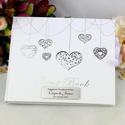 Personalised Engagement Guest Book - Hearts - Add a Name & Message