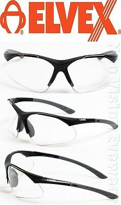 Elvex RX500 Clear Full Lens Reading Reader Ballistic Rated Safety Glasses Z87+