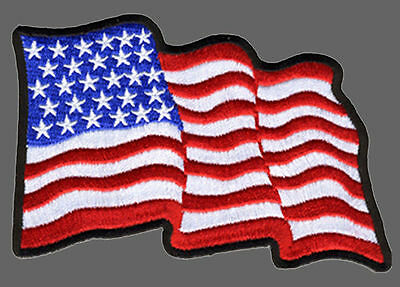 Waving Usa Flag Embroidered Military Uniform Hook Patch