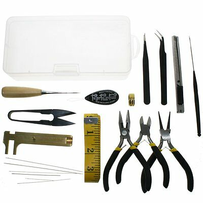 19pcs DIY Jewelry Mini Plier Threader Set Kit Jewellery Making Beading Tools AU