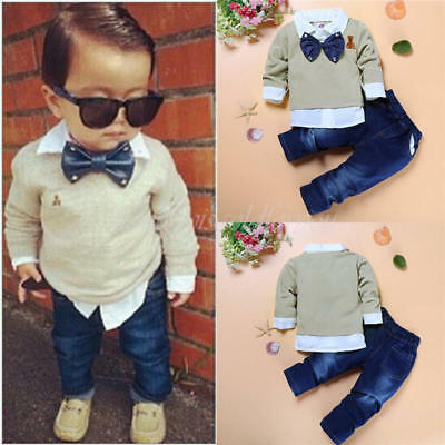 2pcs Newborn Baby Boys Kids Casual T-shirt Tops+Long Pants Outfit Clothes Set