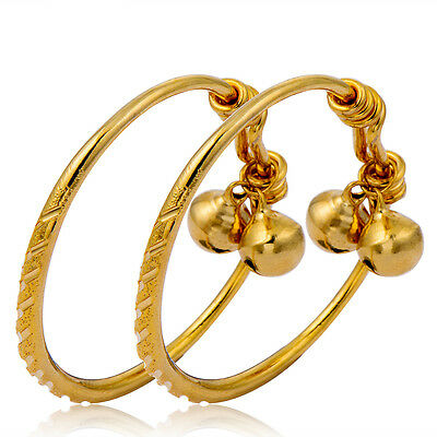 adjustable small yellow gold filled carved 2 bells charms bangle kids bracelet