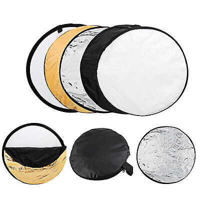 """UK 5in1 60cm 24"""" Light Diffuser Round Reflector Multi Disc + Carrying Bag Case"""