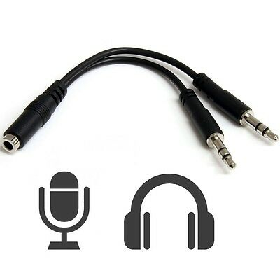Adaptador Conversor Jack Hembra 4 Polos a Doble Macho 3,5mm Audio y Mic PC v321
