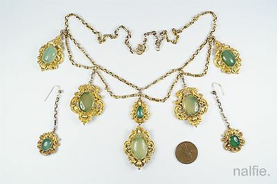 Antique English Early Victorian 18K Gold Green Chalcedony Necklace & Earrings