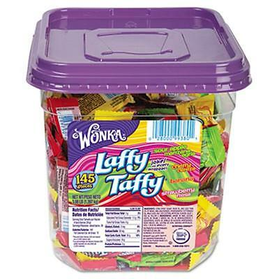 Nes 48749 Wonka Assorted Flavor Laffy Taffy, 3.08 lbs, 145 Wrapped Pieces-Tub