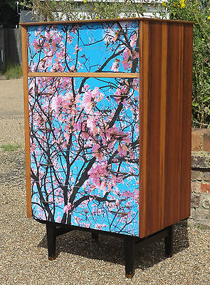 Vintage Retro Limelight Teak Shabby Chic Upcycled Decoupage Chest Of Drawers