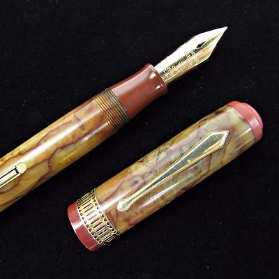 Vintage 1930's Waterman Patrician Onyx Fountain Pen - Estate Fresh - GREAT COLOR