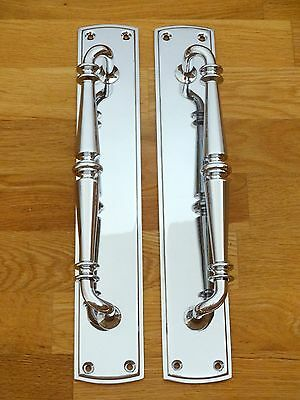 "2nd PAIR LARGE 15"" CHROME ART DECO STYLE DOOR PULL HANDLES KNOBS PLATES FINGER"
