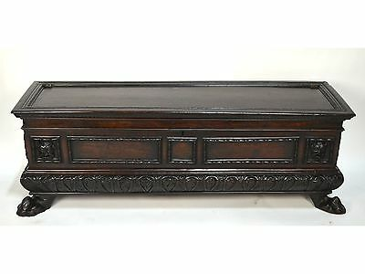 Antique 18th C. Italian Renaissance Carved Walnut Cassone Wedding Trunk Bench